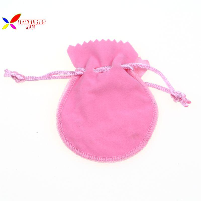 2014 fashion pink Flannel fabric earring necklace finger ring pouches jewelry bag wholesale(China (Mainland))