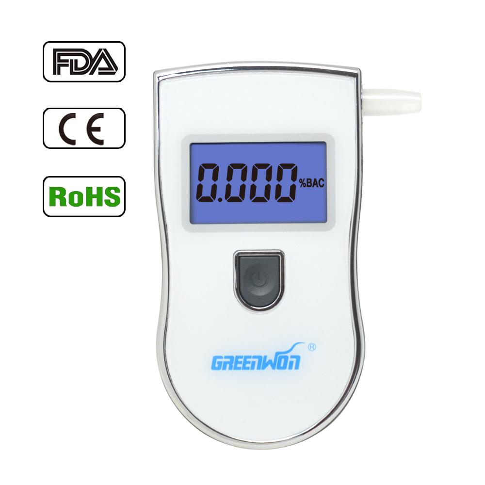 Send 10 mouthpiece Professional Police Black Digital LCD Alcohol Breath Analyzer Detector Breathalyzer Tester Test AT-818(China (Mainland))