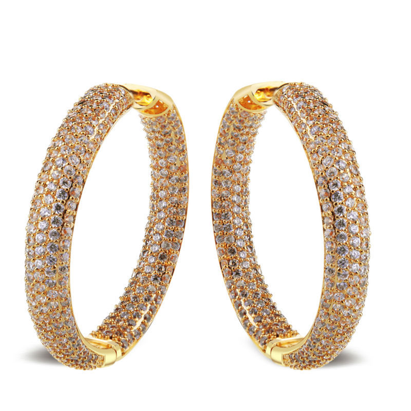 Super Sell Fashion Jewelry Casual/Sporty Brass Cadmium Free No Lead Women Deluxe Round Earrings 558 Pieces Cubic Zircon(China (Mainland))
