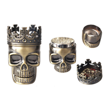 Layer 3 male skull bronze metal grinder spices vanilla tobacco smoke detectors mill crusher ashtray free shipping(China (Mainland))
