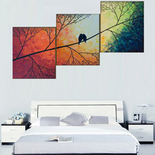 The Bird On The Tree Branch Abstract Oil Painting By Numbers 3 Pieces Set Handmade Colorful Tree Canvas Wall Paintings For Sale(China (Mainland))