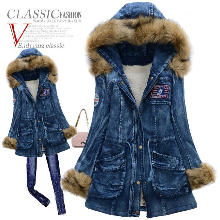 2014 Winter jacket women Parka with large fur collar slim denim cotton wadded jacket women thickening overcoat