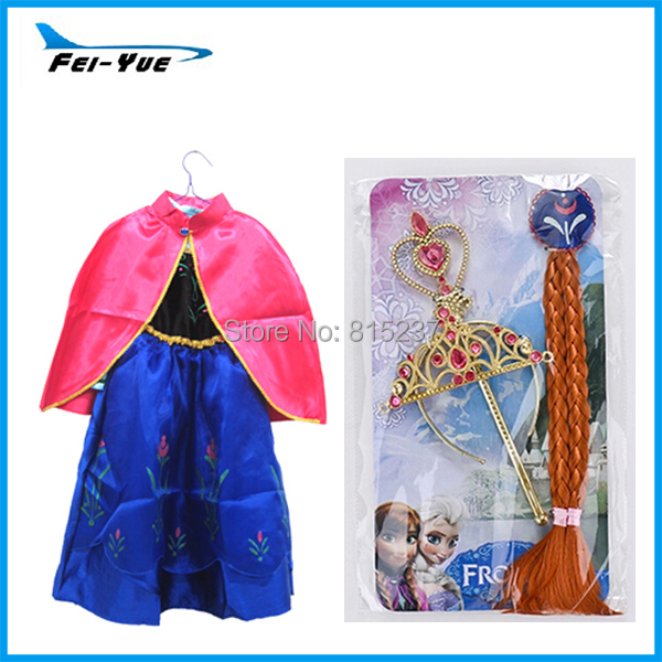 Pretty Gift Kids Girls Princess Anna Coronation Gown Costume With Cape Wigs(China (Mainland))