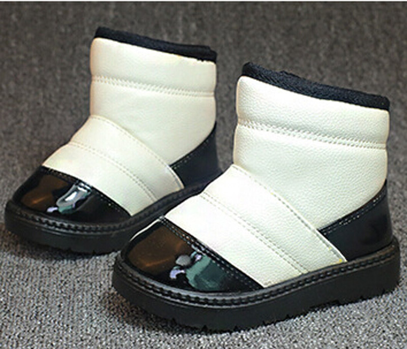 2015 New Children Cotton-Padded PU Warm Shoes for BOY Kids Waterproof Shoes Winter Snow Boots for Boys Girls Free Shipping 21-32<br><br>Aliexpress