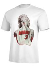 Marilyn Monroe Wearing Dwyane Wade #3 Basketball Jersey T shirt Men Summer Style Cotton Sports T-Shirt Custom Tee Euro Size
