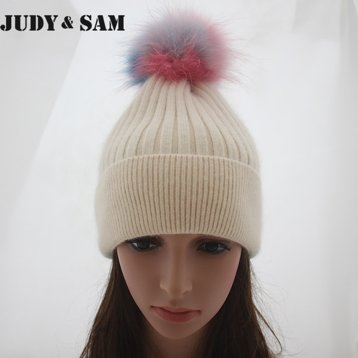Brand New Winter Female Rabbit Hair Beanie Hat for Men With Real Raccoon Fur Pompoms Fox Fur Pompon Caps Hats(China (Mainland))
