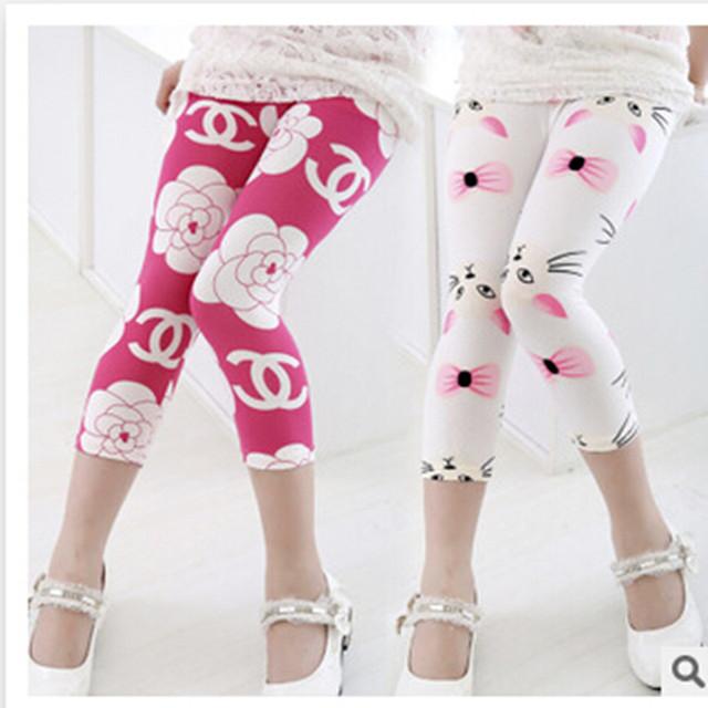 Бесплатная доставка 2015 горячая распродажа лета малышей теленок-длина брюки девушки дети брюки девочка мода брюки девушка леггинсы брюки