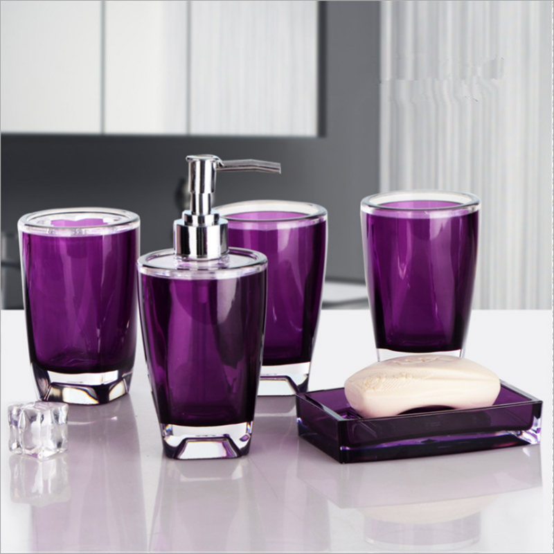 new european 5 sets bathroom accessories set purple hand sanitizer