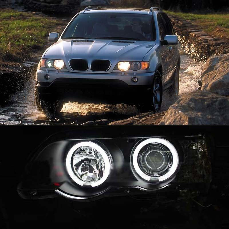 Brand New Dual CCFL Angel-Eyes Projector HeadLight for BMW X5 E53 2000-2003 Model(China (Mainland))