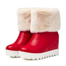 Meotina, botas de nieve, botas de media caña, botas de plataforma, botas de Invierno para mujer, cuña de felpa, zapatos cálidos de piel, rojo, blanco, talla grande 42 43(China)