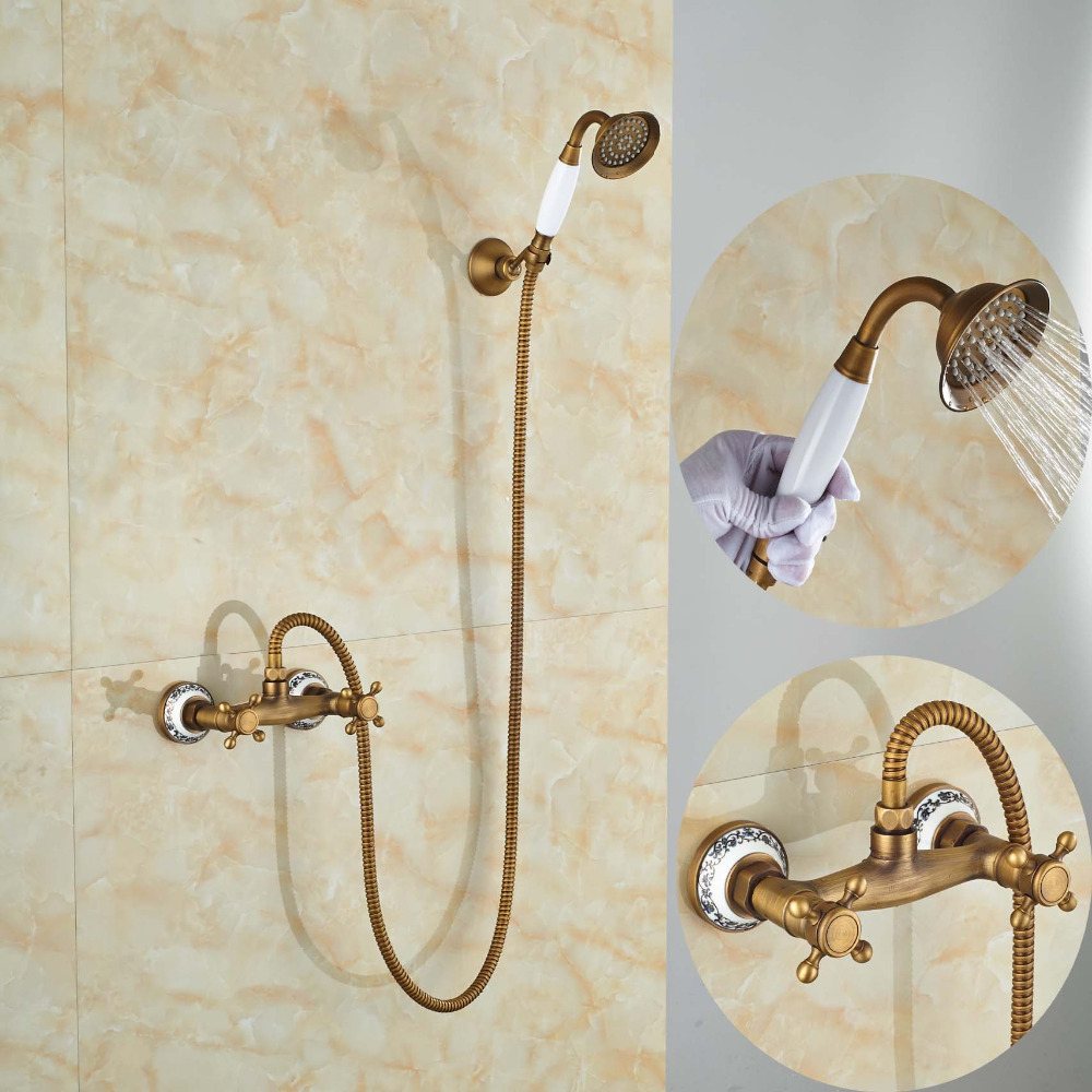 Фотография Wholesale and Retail Luxury Ceramic  Bathroom Handheld Shower Set Faucet Wall Mounted Antique Brass Finished