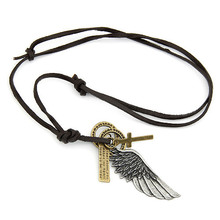 Wholesale Fashion Jewelry Vintage Cross Wings Leather Cord Women Necklaces & Pendants Min.$10(mix items)Free Shipping