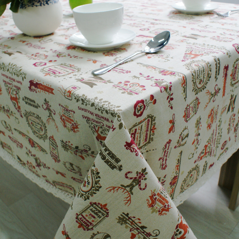 Foreign Trade cotton cloth tablecloths table mats Hot sale Topic Continental Christmas tablecloth(China (Mainland))