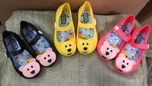 Girls Rubber shoe Princess shoe summer sandal children shoe with bear soft bottom fish mouth sandals free shipping 5 pairs /Lot(China (Mainland))