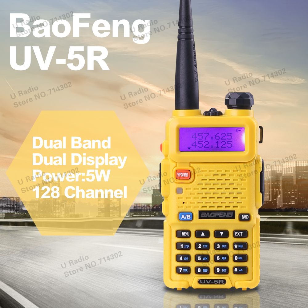 2016 Hot Portable Radio Baofeng UV 5R Yellow two way radio Walkie Talkie pofung 5W vhf uhf dual band 136-174 400-520MHZ baofeng(China (Mainland))