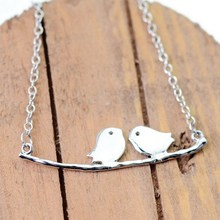 Retro Animal Jewelry Steel Necklace Two Little Love Birds On The Tree Trunk Pendant Necklaces Gift For Women Children