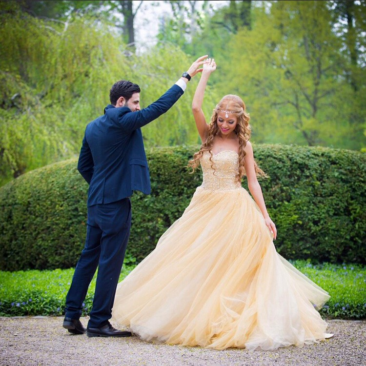 Yellow Tulle Prom Dresses 37