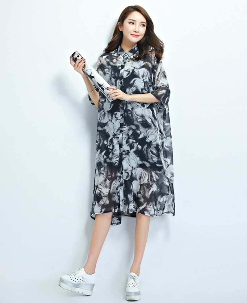 2016 models Model making and the wind large size women in the long sleeved MM fat thin shirt collar Chiffon Dress(China (Mainland))