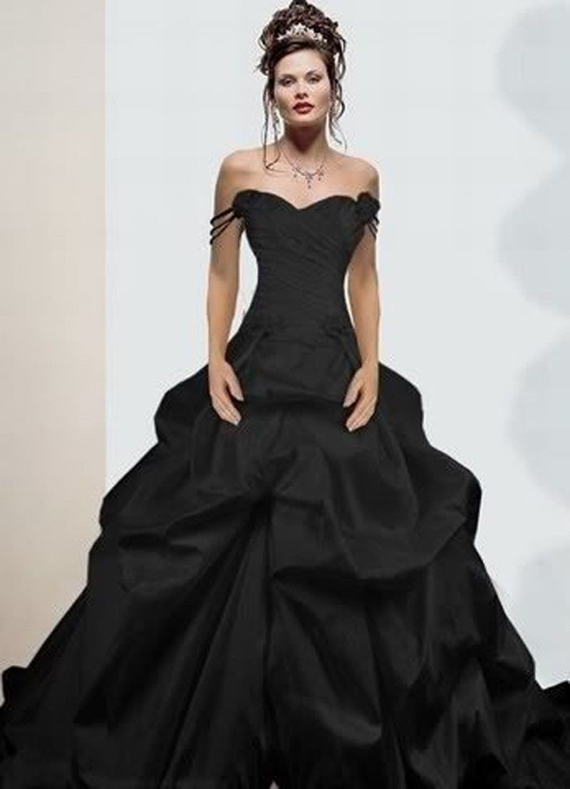 Black Wedding Dress With Train : Train taffeta ball gown black wedding dress gothic dresses