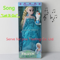 "11.5inch Princess Brinquedos Elsa Anna doll Music Toys Sing Song ""Let It Go"" Princess Elsa olaf as Gifts For Girls,Free Shipping"