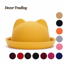 2016 New Fall Winter Fashion Wool Felt Women's Fedoras Hats Retro Vintage Cat Ear Animal Cap Not Deformed Fedoras Caps For Women(China (Mainland))