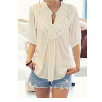 New Design Fashion Lace Splicing Flower Blouse For Women Latest Attractive Half Sleeve Casual Shirt V-neck Sexy Lady Lace Tops