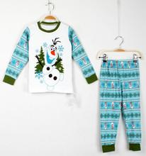 Retail 2015 New Baby Kids Pajamas Clothes Set Children Elsa Olaf Snowman Sleepwear Boys Girls Cartoon