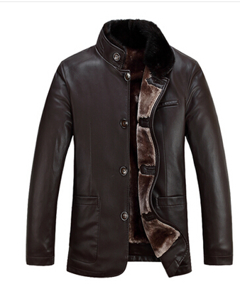 Genuine Lambskin Leather & Fox Fur Collar Coat Men's Winter Warm Wool Liner Jacket Real 3 colors Plus Size - BabyBay store