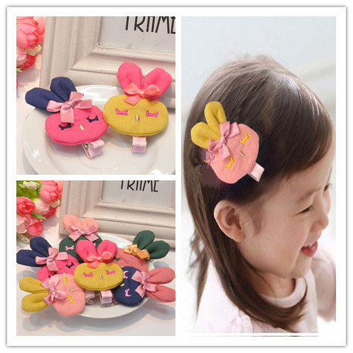 Min order 7$ (can mix order) 2pcs Children Girls cartoon animal Rabbit Accessories Kids Baby Hair Clips Hairpins Barrettes(China (Mainland))