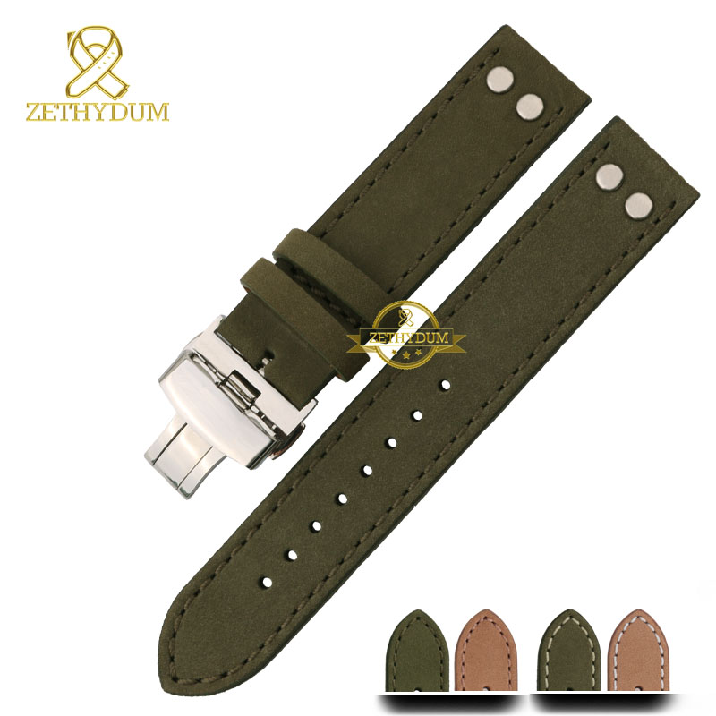 Genuine leather bracelet watch strap Handmade mens watchband Nubuck wristwatches band 20mm 22mm accessories Butterfly buckle(China (Mainland))