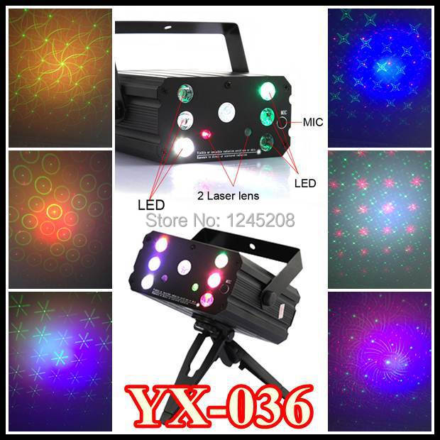 Free DHL 5pcs New Portable 2 Colors Mini YX-036 Red & Green Moving Party DJ Disco Projector 6 LEDs Laser Stage Light Projector(China (Mainland))