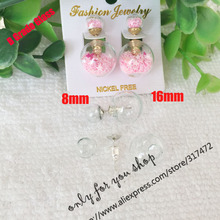 Double Glass Ball Glass Bubble & Stud Earring Set DIY  Double Side Stud  Earing (40pcs glass+20pcs stud earing)(China (Mainland))