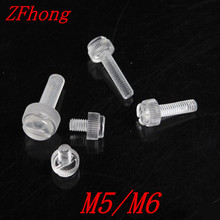 Buy 100pcs M5 M6 Transparent Screws PC Clear Thumb Screws Knurl Head Slotted Polycarbonate Plastic Fastener for $5.88 in AliExpress store