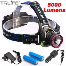5000 Lumens LED Headlamp CREE XM-L T6 LED Headlight Fishing Light Head Lamp Light + 2*18650 Battery + Charger + Car Charger(China (Mainland))