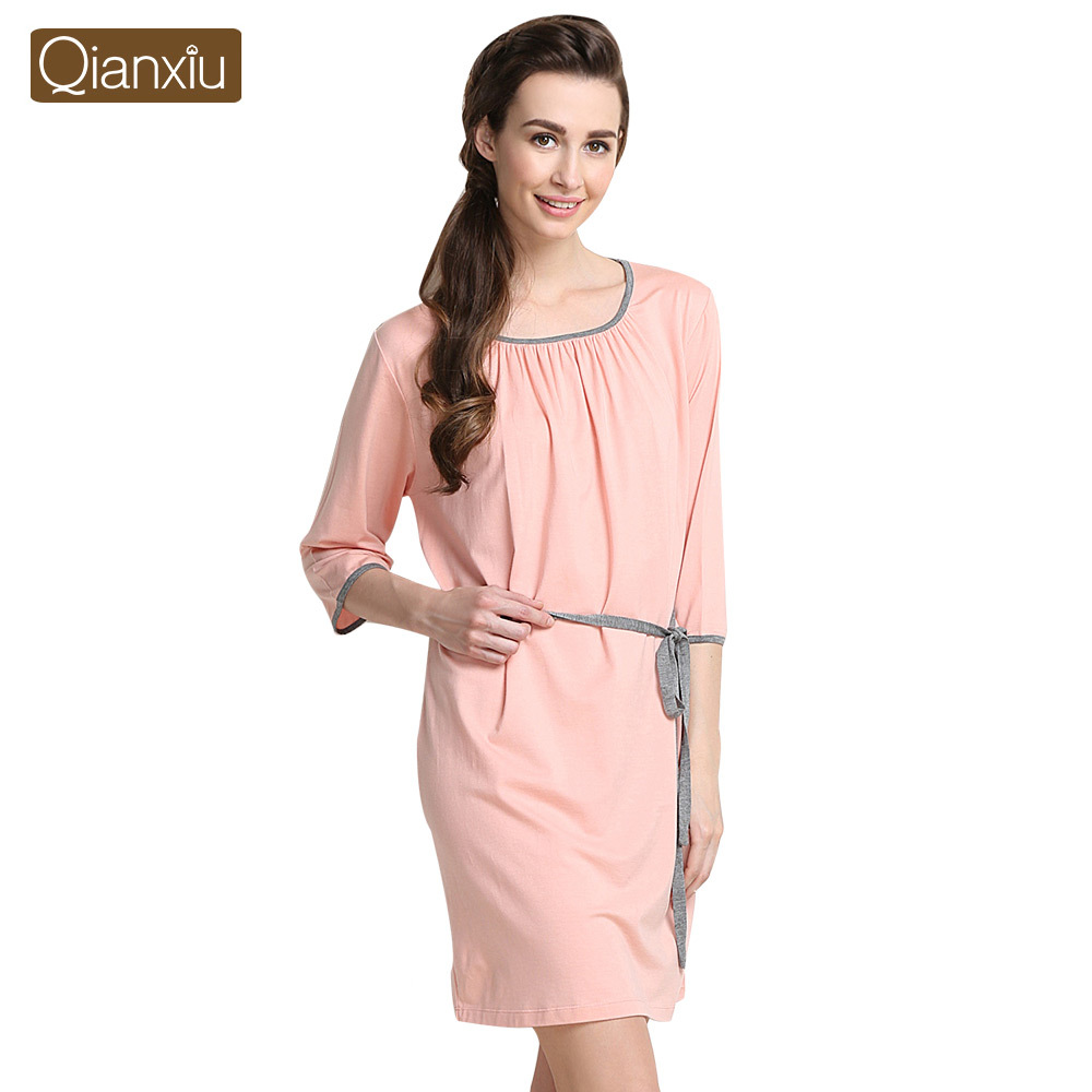 Qianxiu Nightgown Sexy Robe Women Home Clothing Sets Plus size Bamboo Fiber Pajamas with Bathrobe dress Free ShippingОдежда и ак�е��уары<br><br><br>Aliexpress