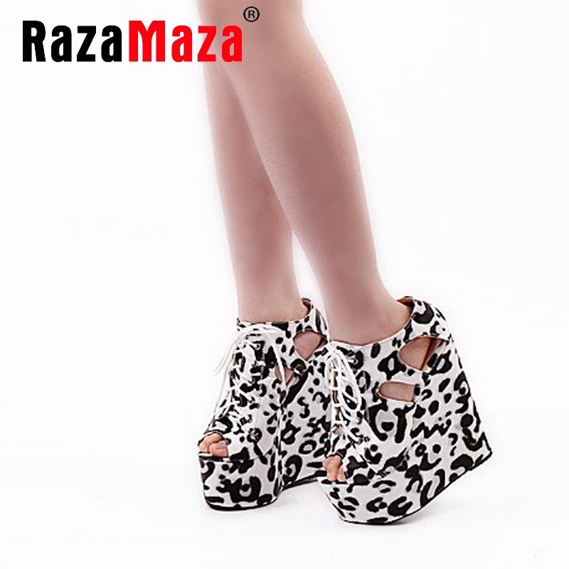 women wedge leopard cross strap platform high heel sandals sexy fashion ladies heeled footwear heels shoes size 30-39 P16758<br>