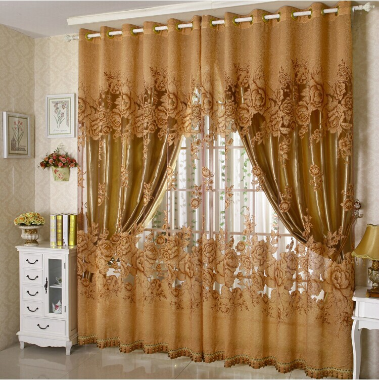 Buy Free Shipping Luxury Fashion Floral Design Tulle Curtain With Blackout