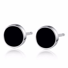 Plastic Metal Punk Style Mens Stud Earrings Round Fashion Jewelry 2 Pcs/lot Men Black Studs Earring(China (Mainland))
