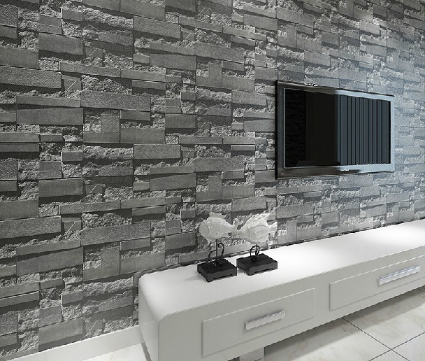 Buy stacked brick 3d stone wallpaper for 3d stone wallpaper for living room
