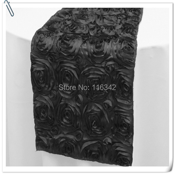 20pcs Top Quality 3D Rosette Embrodiery Black Table Runners 30x275cm For Weddings &Party &Banquet Decoration FREE SHIPPING(China (Mainland))