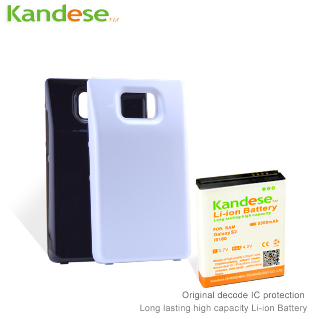 Brand KANDESE 5500mAh High Capacity Extended Battery with Back Cover Case For Samsung Galaxy S2 i9100 Free Shipping