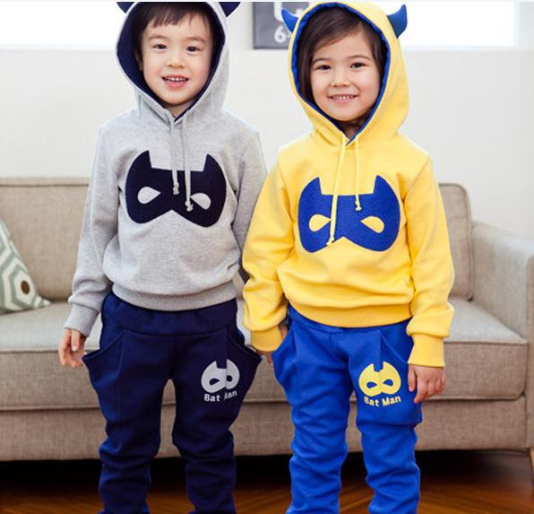 Autumn baby boy girl suit gray long sleeve hooded ox horn sweater jacket + trousers 2pcs set boys girls clothing set 5set/lot<br><br>Aliexpress