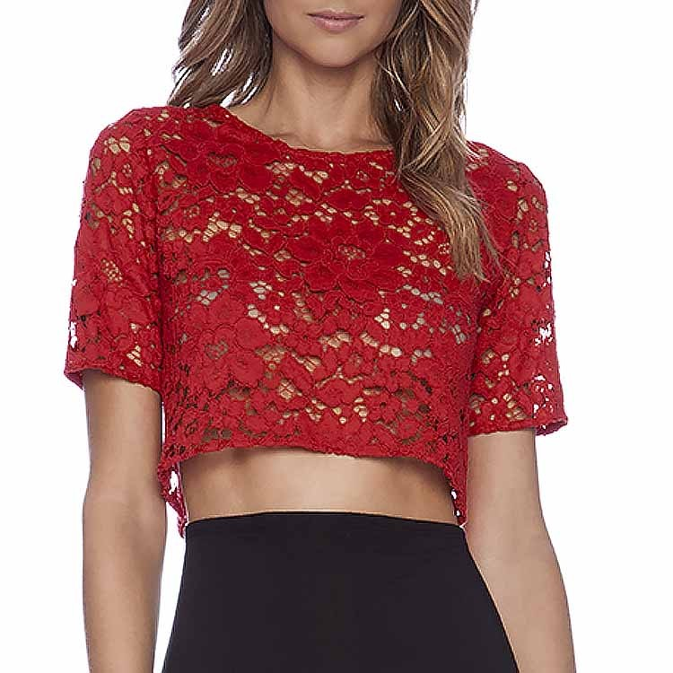 2015 new fashion blusas femininas sexy red lace short
