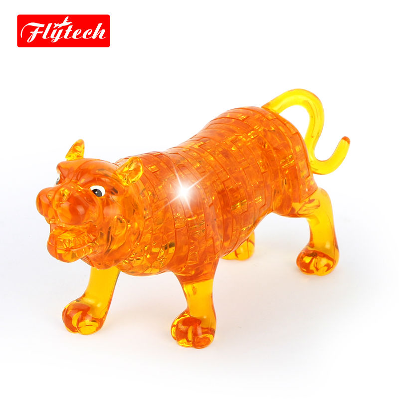 Kids Toy Tiger Crystal Puzzle 3D Animal Jigsaw Toys Yellow/Clear DIY Puzzles For Kids Or Adults Children's Educational Toys(China (Mainland))