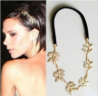 New Fashion Gold Romantic Olive Branch Leaves Head Bands Hair Accessories For Women Elastic Acessorios Para Cabelo El Pelo A16R2