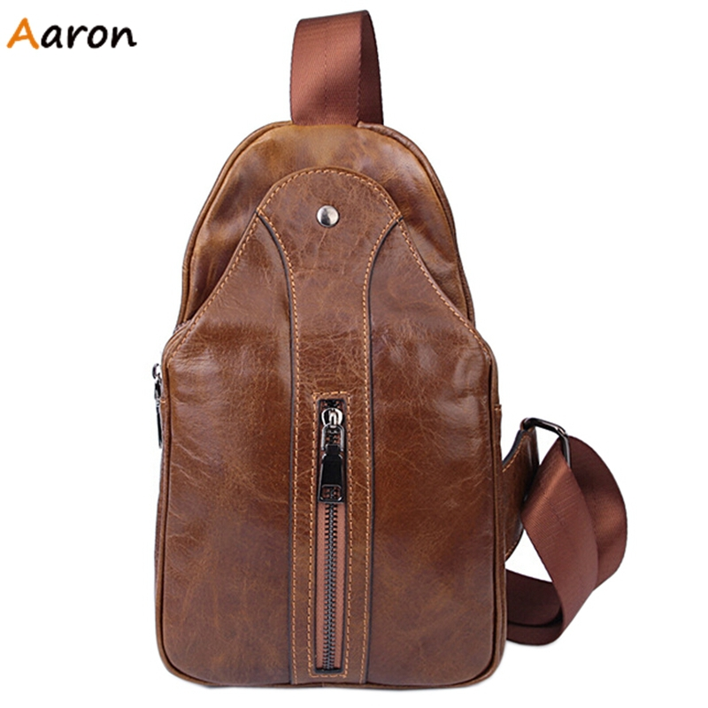 Aaron - Stylish Mens Leather Solid Chest Packs With Surface Vertical Zipper,Exterior Hasp Compartment Bags Male Crossbody Bags<br>