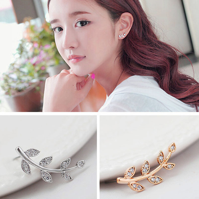 Free Shipping One Pair Women Fashion Party Gift Jewelry Ear Cuff Small Cute Leaf Shape Crystal Clips For The Ears brincos(China (Mainland))