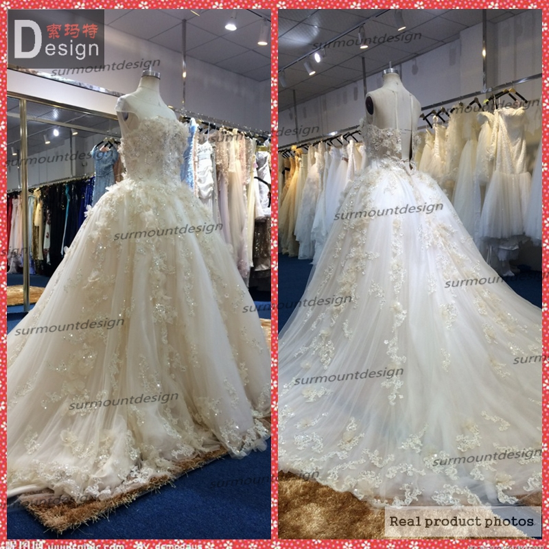 2014 luxury charming custom made champagne color very for Very puffy wedding dresses