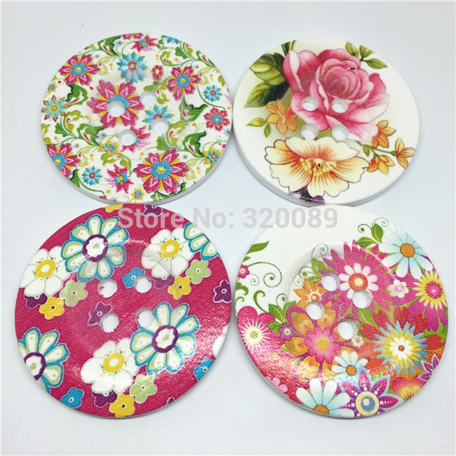 50pcs 50mm Large Wooden Buttons Pink Flowers Mixed Butterfly Sewing Button Botones Embellishments Cardmaking Bag Decorations(China (Mainland))