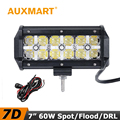 Auxmart 60W 7D LED Work Light 7 inch CREE Chips Flood Spot Beam Cross DRL Light